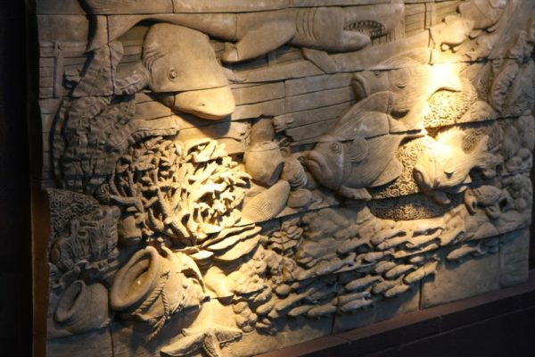 Underwater Scene Wall Carving